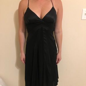 Bebe black dress with open back clasp detail